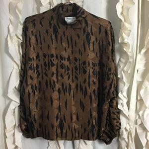 Vtg Christian Dior Silk Goemetric Dolman Blouse